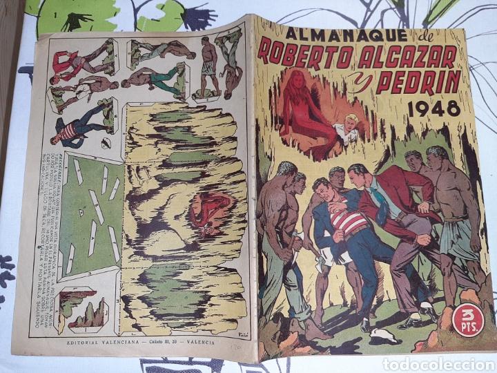 Tebeos: Almanaque de Roberto Alcázar y Pedrín para 1948, original y muy nuevo - Foto 2 - 222378270