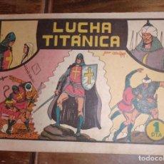 Tebeos: LUCHA TITANICA. EL GUERRERO DEL ANTIFAZ. Nº 3. ORIGINAL.. Lote 224380732