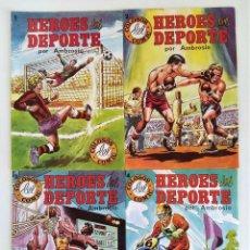 Tebeos: HÉROES DEL DEPORTE (COLOSOS DEL CÓMIC) # 1-4 POR AMBRÓS ~ EDITORIAL VALENCIANA (1983) **BUEN ESTADO*. Lote 254095770