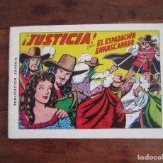 Tebeos: EL ESPADACHÍN ENMASCARADO Nº 2 ¡JUSTICIA! 2ª ED. REEDICIÓN AÑOS 80. EDITORIAL VALENCIANA. Lote 263125320