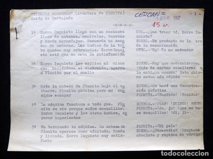 """GUIÓN ORIGINAL DE VICENTE TORTAJADA LÓPEZ, EDITORIAL VALENCIANA, 1962. PLUMINTA EN """"TIEMPOS MODERNOS (Tebeos y Comics - Valenciana - Otros)"""