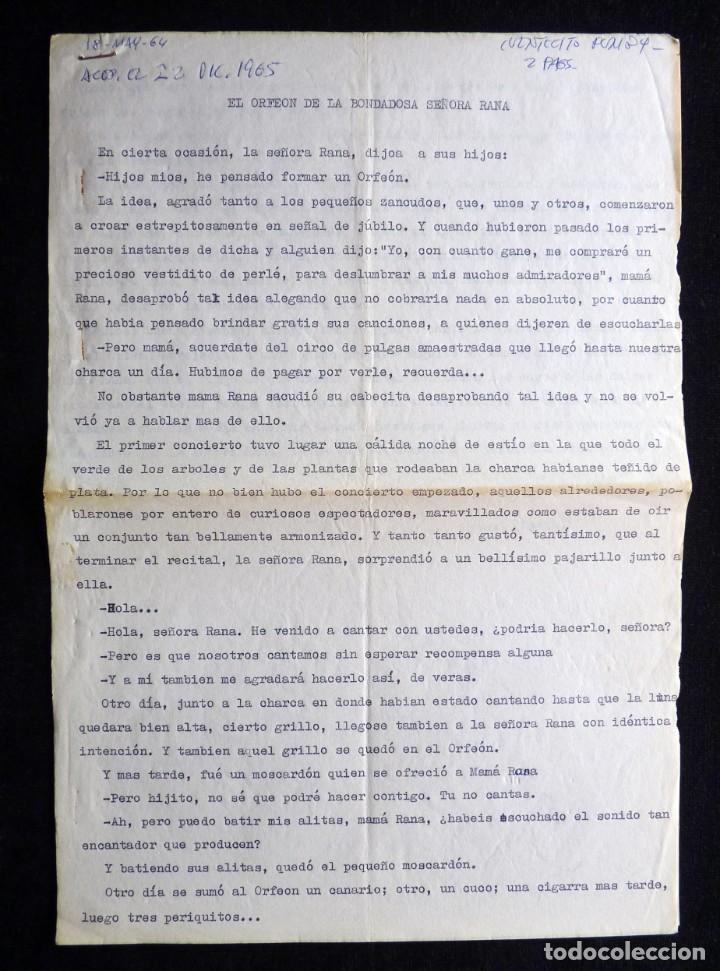 GUIÓN ORIGINAL DE MANUEL SORIA, EDITORIAL VALENCIANA, 1964. EL ORFEÓN DE LA BOMDADOSA SEÑORA RANA. P (Tebeos y Comics - Valenciana - Otros)