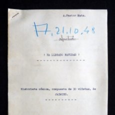 Tebeos: GUIÓN ORIGINAL DE A. PASTOR MATA, EDITORIAL VALENCIANA, 1948. ¡HA LLEGADO NAVIDAD!. JAIMITO. Lote 263245590