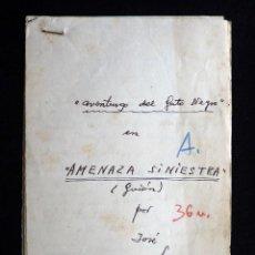 Tebeos: GUIÓN ORIGINAL DE JOSE LUIS LÓPEZ SELLES, EDITORIAL VALENCIANA, 1947. AVENTURGO DEL GATO NEGRO. FIRM. Lote 263246060