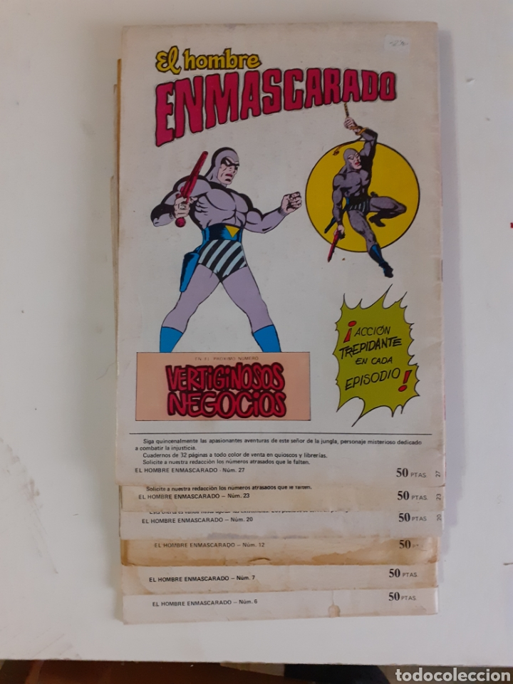 Tebeos: El hombre enmascarado. 6 numeros: 6, 7, 12, 20, 23, 27. Colosos del Comic. Ed. Valenciana, 1979 - Foto 2 - 275575218