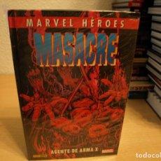 Tebeos: MARVEL HEROES - MASACRE - AGENTE DE ARMA X - TAPA DURA - PANINI - PRECINTADO - COMO NUEVO. Lote 189917461