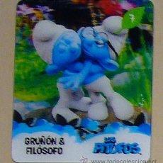 Trading Cards: CARTA 3D PITUFO Nº7 DE LA COLECCION LOS PITUFOS - SMURFS - SUPERMERCADO CONSUM - GRUÑON Y FILOSOFO. Lote 30904267