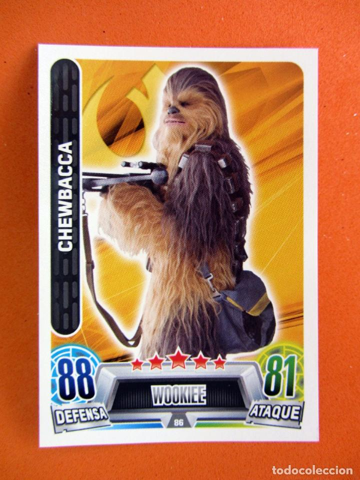 CHEWBACCA 86 FORCE ATTAX STAR WARS TOPPS (Coleccionismo - Cromos y Álbumes - Trading Cards)