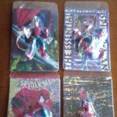 Trading Cards: SPIDERMAN 4 LLAVEROS CON UNA TRADING CART CADA UNO AÑOS 90 DIFICILES DE VER. Lote 89688224
