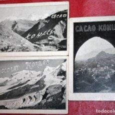 Trading Cards: 3 CROMOS PUBLICIDAD CHOCOLATE KOHLER CACAO. Lote 95596519