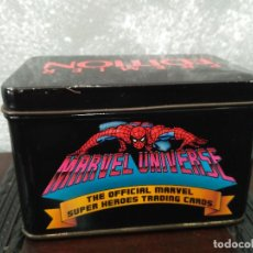 Trading Cards: CAJA METALICA TRADING CARDS MARVEL UNIVERSE PREMIER EDITION 1991 SPIDERMAN VENGADORES IRON MAN. Lote 122068643