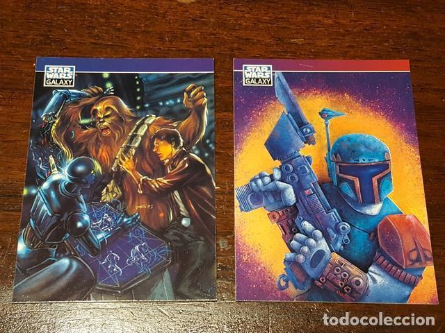 STAR WARS GALAXY - SET DE DOS TRADING CARDS PROMO SERIES TWO CHEWBACCA BOBBA FETT P5 Y P6 (Coleccionismo - Cromos y Álbumes - Trading Cards)