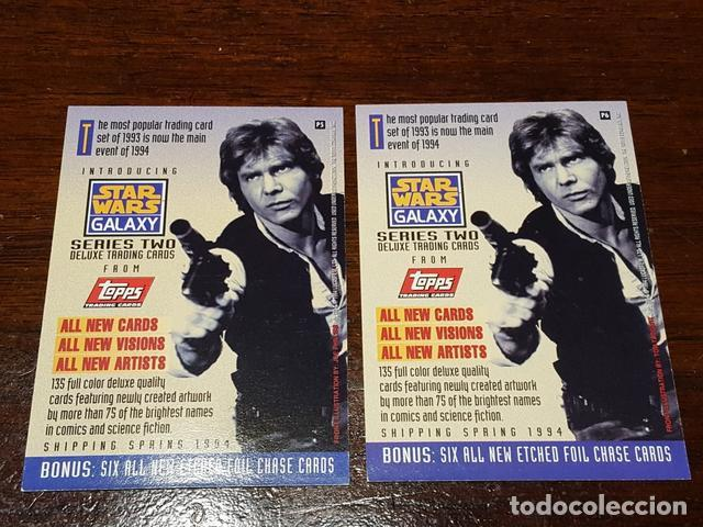 Trading Cards: Star Wars Galaxy - Set de dos trading cards promo Series two Chewbacca Bobba Fett P5 y P6 - Foto 2 - 132069914