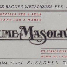 Cartas Colecionáveis: FÁBRICA DE BAGUES METALIQUES PER A TEIXITS JAUME MASOLIVER SABADELL. Lote 167382712