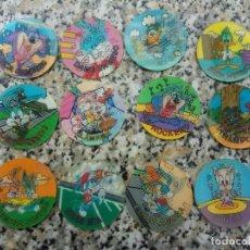 Trading Cards: LOTE PACK 12 TAZOS TAZO MIXTO POGS POG CAP CAPS CARTAS PATATAS MATUTANO 1994 WARNER BROS CROMOS. Lote 169667876