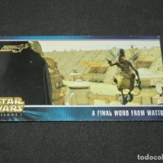 Trading Cards: STAR WARS EPISODE I WIDEVISION NÚMERO X-7 PODRACE A FINAL WORD FROM WATTO TOPPS CARTA X7 H7 H 7. Lote 176769803