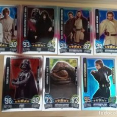 Trading Cards: 7 CARTAS ESPECIALES STAR WARS FORCE ATTAX MOVIES SERIE 3 (TRASERA ROJA AÑO 2013). Lote 187541376