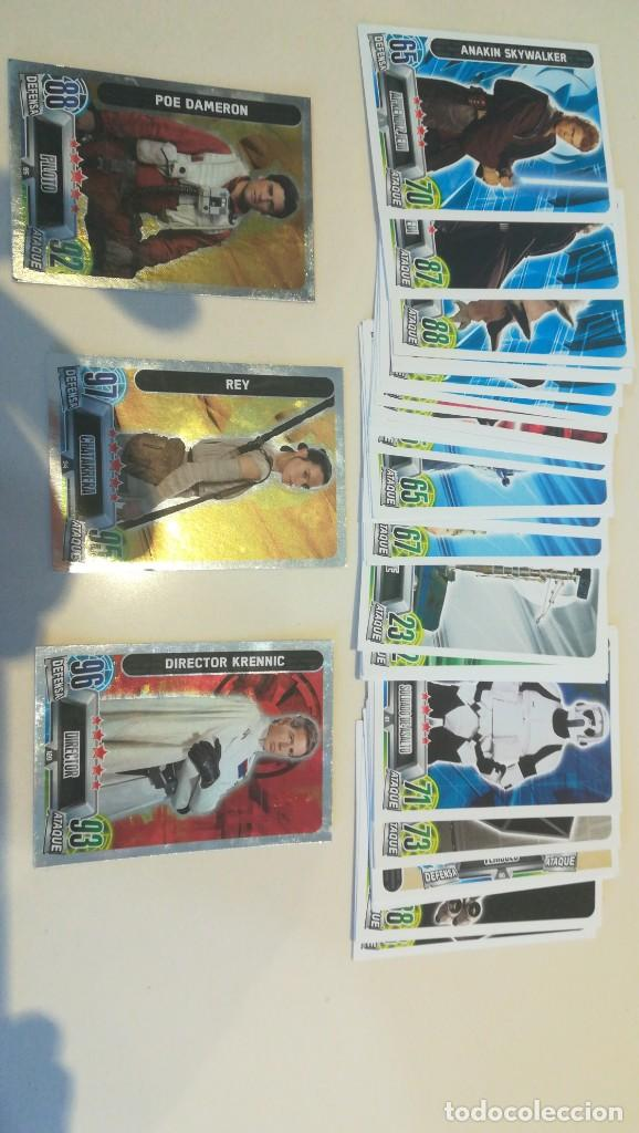 LOTE 45 CARDS DISTINTAS STAR WARS FORCE ATTAX CARREFOUR TOPPS (Coleccionismo - Cromos y Álbumes - Trading Cards)