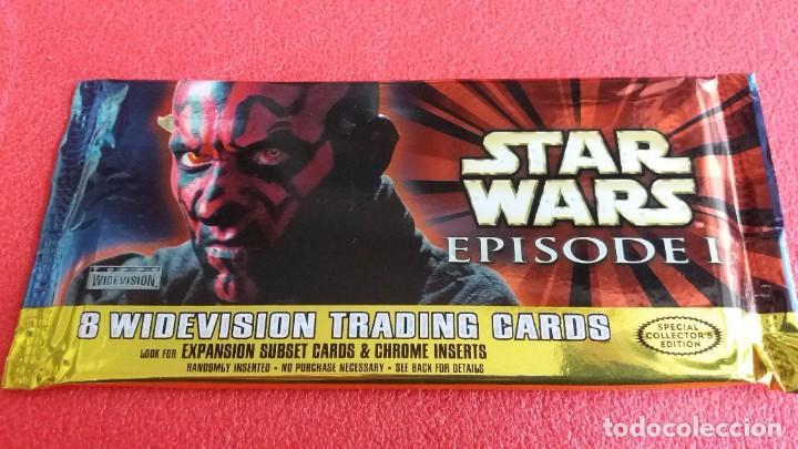 BOOSTER PACK SOBRE 8 WIDEVISION TRADING CARDS STAR WARS . LA AMENAZA FANTASMA. 1999. SIN ABRIR. (Coleccionismo - Cromos y Álbumes - Trading Cards)