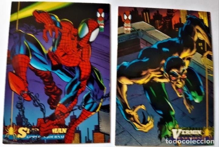 LOTE 2 CROMOS/CARDS SPIDERMAN ORIGINAL MARVEL 1994 (Coleccionismo - Cromos y Álbumes - Trading Cards)