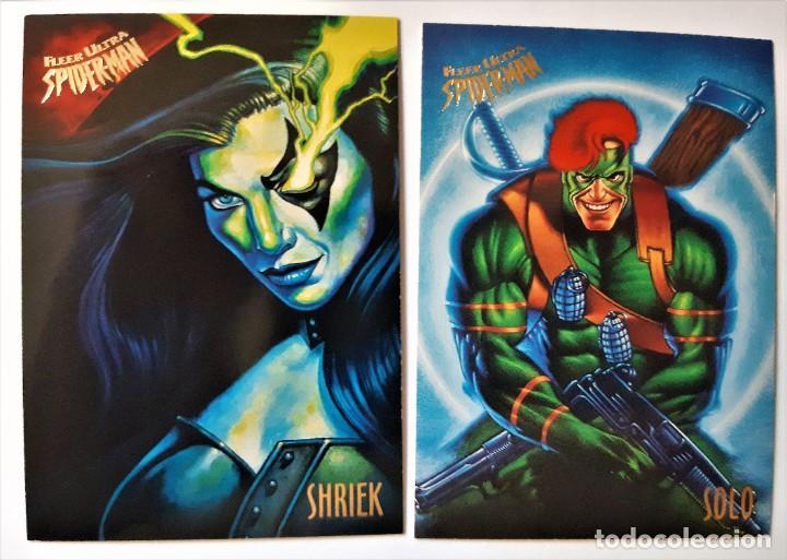 LOTE 2 CROMOS/CARDS SPIDERMAN FLEER ULTRA ORIGINAL MARVEL 1995 (Coleccionismo - Cromos y Álbumes - Trading Cards)