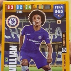 Trading Cards: CARD PANINI FIFA 365 WILLIAN FANS FAVOURITE CHELSEA. Lote 194968547