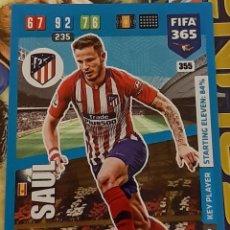 Trading Cards: CARD PANINI FIFA 365 SAUL KEY PLAYER ATLETICO DE MADRID. Lote 194970057