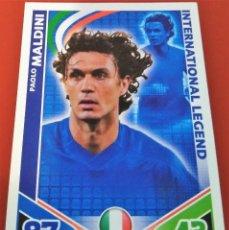 Trading Cards: CARD TOPPS MATCH ATTAX MUNDIAL 2010 PAOLO MALDINI INTERNATIONAL LEGEND ITALIA. Lote 222375556