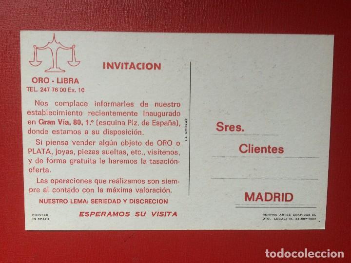 Trading Cards: invitación tarjeta inauguración establecimiento oro plata oro libra madrid 14 x 9 cm s xx - Foto 2 - 199466230