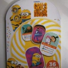 Trading Cards: GRU3 MI VILLANO FAVORITO ALBUM CON 26 CARTAS 3D DEL SUPERMERCADO DIA. Lote 203086296