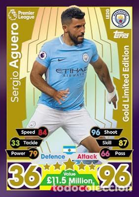 CARD TOPPS MATCH ATTAX SERGIO AGUERO GOLD LIMITED EDITION MANCHESTER CITY (Coleccionismo - Cromos y Álbumes - Trading Cards)