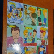 Trading Cards: BEAVIS AND BUTTHEAD. LÁMINA DE CARTULINA PROMO CON 9 TRADING CARD. BUEN ESTADO. INGLÉS. DIFICIL. Lote 222844600