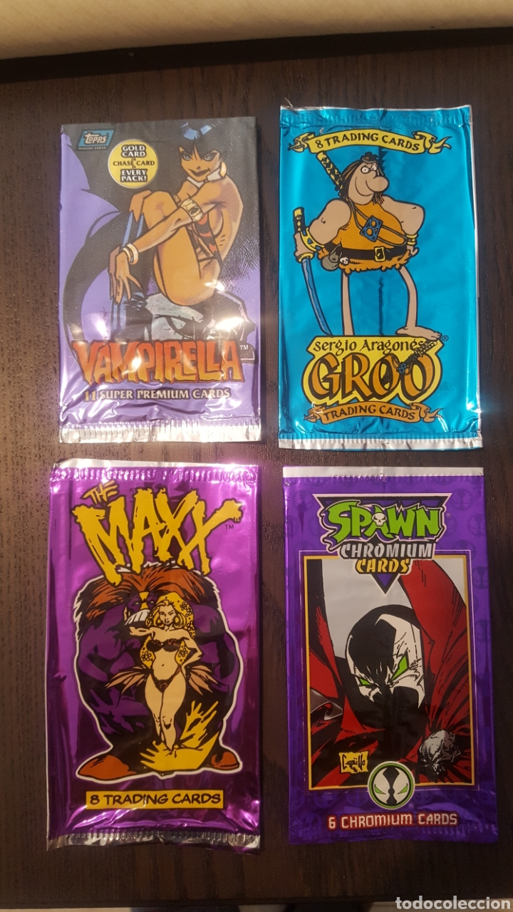 TRADING CARDS - SOBRES VACIOS - VAMPIRELLA, GROO, SPAWN, THE MAXX, - TOPPS, WILDSTORM, IMAGE COMICS (Coleccionismo - Cromos y Álbumes - Trading Cards)