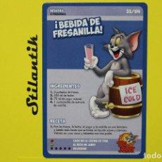Trading Cards: RECETA 33 - BEBIDA DE FRESANILLA - CARTA DEL ÁLBUM TOM AND JERRY LIBRO DE RECETAS - HIPERCOR 2017. Lote 248618360