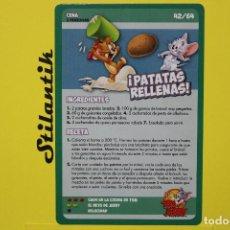 Trading Cards: RECETA 42 - PATATAS RELLENAS - CARTA DEL ÁLBUM TOM AND JERRY LIBRO DE RECETAS - HIPERCOR 2017. Lote 248618575