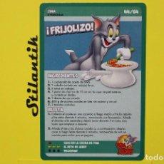 Trading Cards: RECETA 44 - FRIJOLIZO - CARTA DEL ÁLBUM TOM AND JERRY LIBRO DE RECETAS - HIPERCOR 2017. Lote 248618710