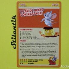 Trading Cards: RECETA 60 - FLAN DE HUEVO CON NARANJA - CARTA DEL ÁLBUM TOM AND JERRY LIBRO DE RECETAS - HIPERCOR 20. Lote 248619270