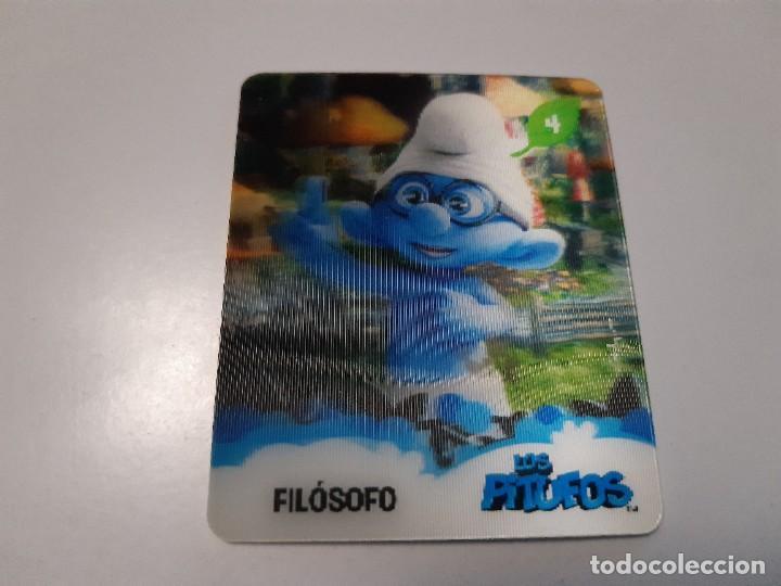 LOS PITUFOS CARTA 3D FILOSOFO 4/24 - SMURFS (Coleccionismo - Cromos y Álbumes - Trading Cards)