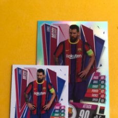 Trading Cards: TOPPS MATCH ATTAX 20/21 LEO MESSI FCBARCELONA XL Y NORMAL TRADING CARDS LOTE. Lote 296753413