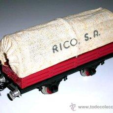 Trenes Escala: VAGÓN BORDE MEDIO CON TOLDO IBI, ESC.0, FABRICADO EN LATA, RICO, , AÑOS 50.. Lote 26997173