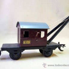 Trenes Escala: VAGON GRUA, TREN ESCALA 0, FABRICADO POR ZEUKE BAHNEN, ALEMANIA, 1940S, RUEDAS BAKELITA. Lote 31129150