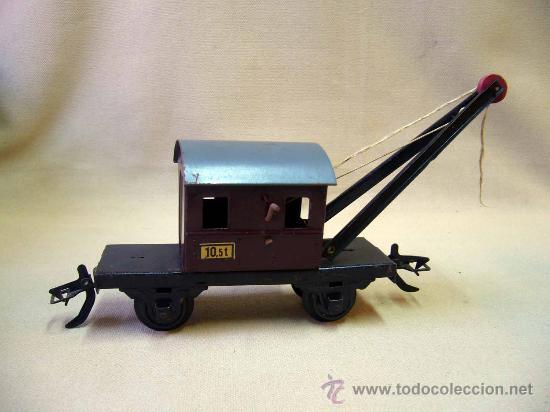 Trenes Escala: VAGON GRUA, TREN ESCALA 0, FABRICADO POR ZEUKE BAHNEN, ALEMANIA, 1940s, RUEDAS BAKELITA - Foto 3 - 31129150