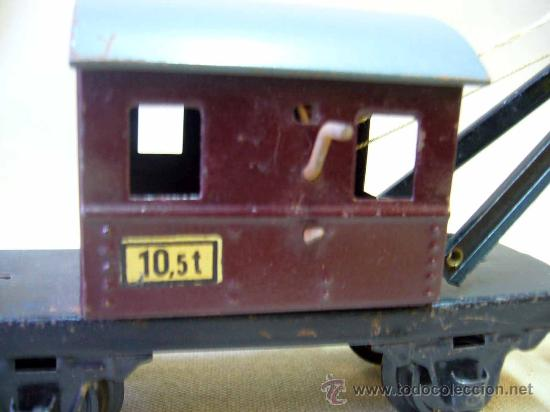 Trenes Escala: VAGON GRUA, TREN ESCALA 0, FABRICADO POR ZEUKE BAHNEN, ALEMANIA, 1940s, RUEDAS BAKELITA - Foto 5 - 31129150