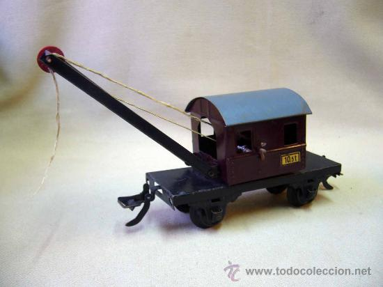 Trenes Escala: VAGON GRUA, TREN ESCALA 0, FABRICADO POR ZEUKE BAHNEN, ALEMANIA, 1940s, RUEDAS BAKELITA - Foto 2 - 31129150