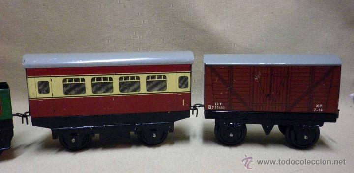 Trenes Escala: ANTIGUO TREN DE HOJALATA, REF. 60985, FABRICADO POR HORNBY, MECCANO, INGLATERRA, A CUERDA - Foto 22 - 40524672