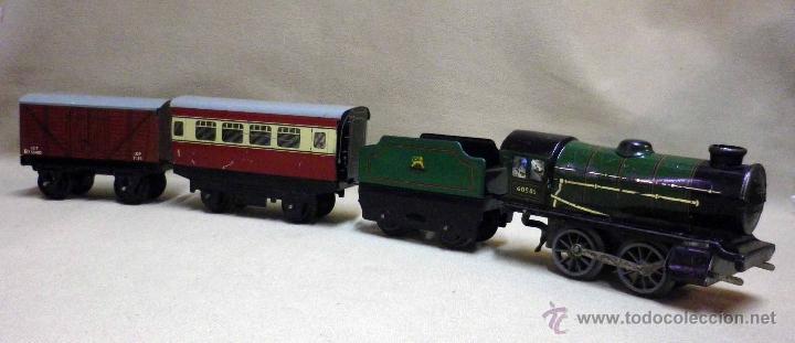 Trenes Escala: ANTIGUO TREN DE HOJALATA, REF. 60985, FABRICADO POR HORNBY, MECCANO, INGLATERRA, A CUERDA - Foto 23 - 40524672