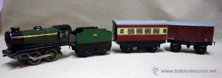 Trenes Escala: ANTIGUO TREN DE HOJALATA, REF. 60985, FABRICADO POR HORNBY, MECCANO, INGLATERRA, A CUERDA - Foto 30 - 40524672