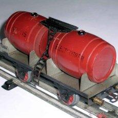 Trenes Escala: VAGÓN VINO CUBAS TONELES VINOS, METAL, ESC. 0, ELECTROTREN JOSFEL, BARCELONA, AÑOS 50.. Lote 50224434
