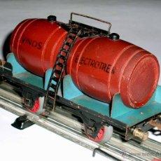 Trenes Escala: VAGÓN CUBAS TONELES VINOS, METAL, ESC. 0, ELECTROTREN JOSFEL, BARCELONA, AÑOS 50.. Lote 50853470
