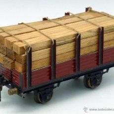 Trenes Escala: VAGÓN MERCANCÍAS JOSFEL TRANSPORTE MADERA ESCALA 0 COLOR ROJO AÑOS 40. Lote 52031380